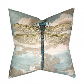 DRAGONFLY OVER CLOUD SKY /  BLUE